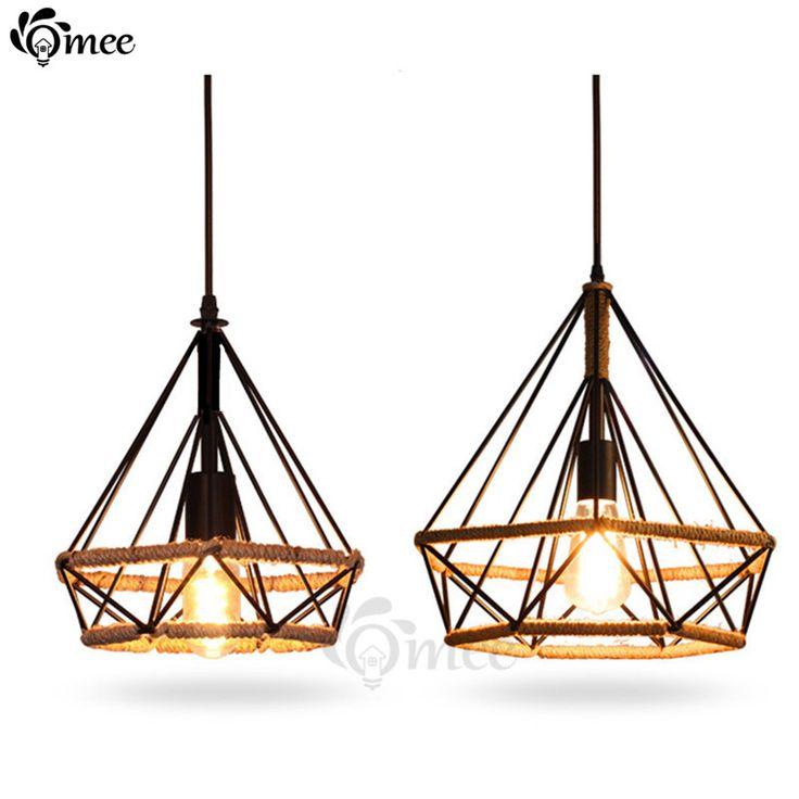 Modern Birdcage Pendant Lights Rope Diamond Iron Minimalist Retro Light Scandinavian Loft Pyramid Lamp Metal Cage W/ Led Bulb