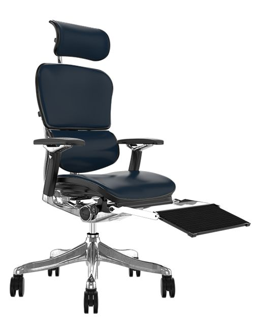 ergonomic chair with leg rest kids plastic outdoor chairs ergohuman plus luxury leather office head and