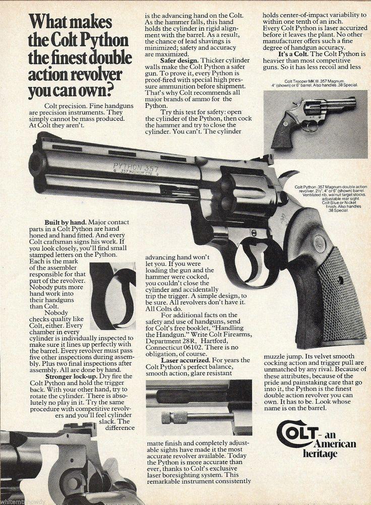 1975 Colt Python 357 Magnum Revolver Ad Firearms Print Advertising | eBay