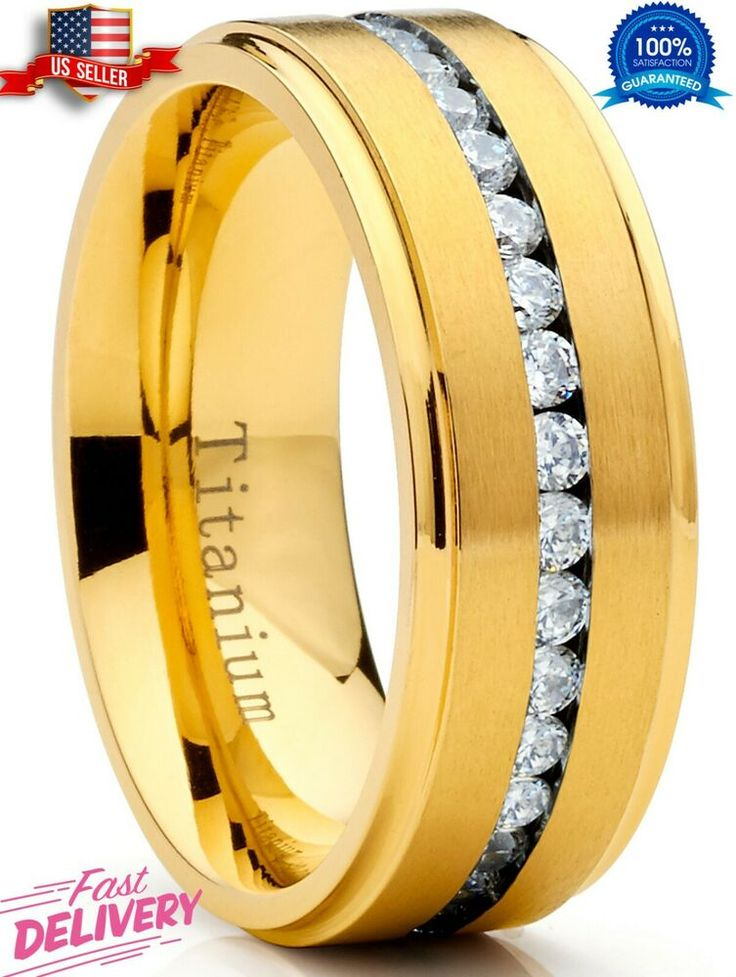 Titanium Men's Eternity Wedding Band Ring with Cubic
