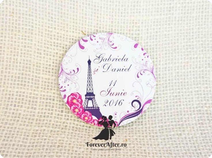 Set 2 suporti pentru pahare din sticla rotunzi Tour Eiffel