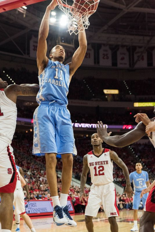 February 24,  2016: North Carolina Tar Heels forward Brice Johnson (11) with the power dunk.  NC State Final score North Carolina Tar Heels 80 and NC State Wolfpack 68 at the PNC Arena, Raleigh, NC.  (Photo by Michael Berg/Icon Sportswire)