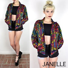 vtg 90s Baroque Scarf Print MILITARY PLAID Bomber Grunge coat Jacket