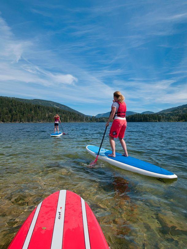 Paddle boarding in Kamloops, British Columbia.