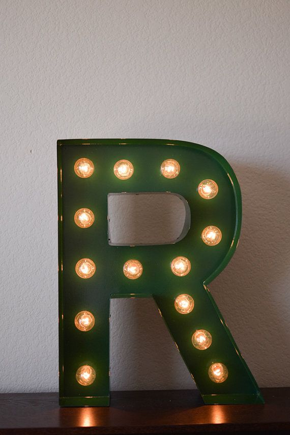 Vintage Inspired Marquee Light Letter by #SaddleShoeSigns #marquee #home #light #letter #nursery #R