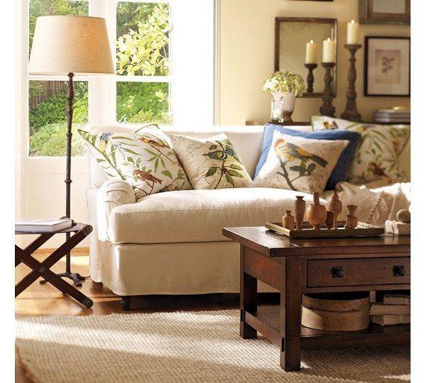 Elegant Living Room Ideas for Contemporary Home: Stylish Floor Lamp Laminate Flooring Wooden Coffee Table Floral Print Sofa Cushions Living Room Ideas ~ jangrue.com Living Room Inspiration