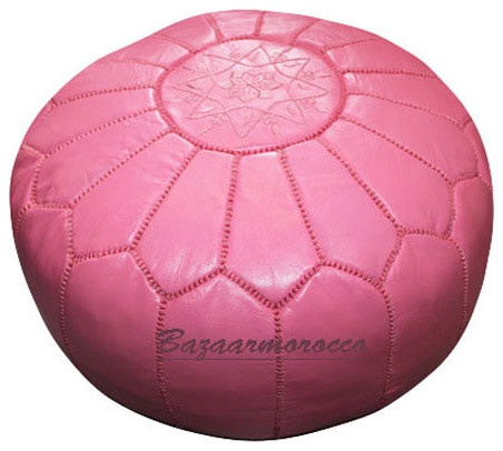 MOROCCAN LEATHER FOOTSTOOL OTTOMAN STYLE LARGE POUF, POUFFE PINK mediterranean ottomans and cubes