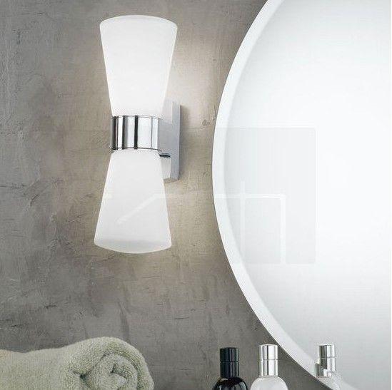 Απλίκα φωτιστικό τοίχου δίφωτο, σε μοντέρνο στυλ, στεγανό κατάλληλο και για μπάνιο, με βάση από αλουμίνιο σε χρώμιο και σατινέ γυαλί λευκό. Cailin από την Eglo. --------------------------------- Wall double luminaire in modern style, waterproof. Suitable for bathroom, with aluminum base in chrome and satin white glass. #bathroom #bathroomdesign #bathroomideas #bathroomlighting #aplika #φωτιστικό #μπάνιο #φωτισμός #homedecor #homedecorideas #decoration