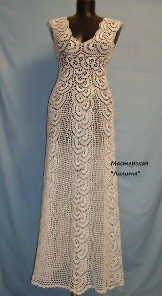 crochelinhasagulhas: Vestido longo e branco em crochê
