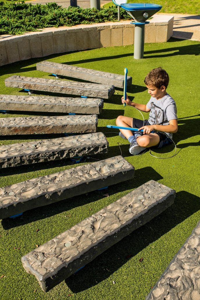 Stone Xylophone Producing Sound Waves With Various Materials The