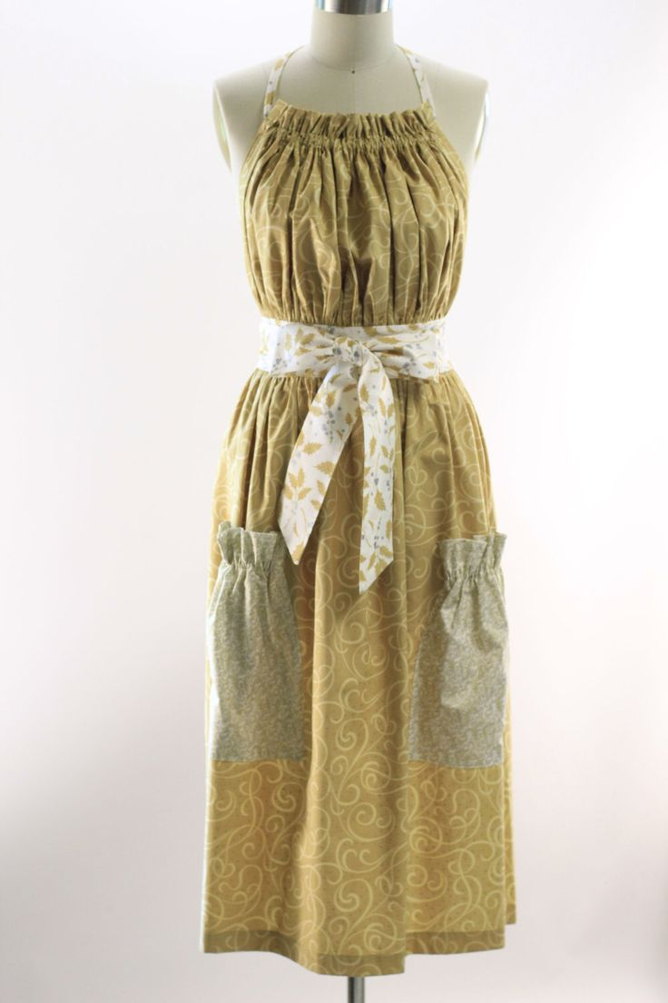 Very Long Traditional Apron in Gold by SusannahsKitchen on Etsy https://www.etsy.com/listing/249740642/very-long-traditional-apron-in-gold