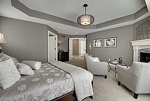 I like how the recessed part of this tray ceiling is Master bedroom ceiling colors