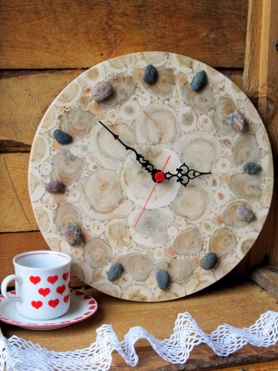 Juniper Wood Clock, Round Clock, Natural Handmade Wall Clock, Large Wooden Clock, Unique Gift, Untreated Wood, Rustic Decor Adorable handmade juniper wood wall clock. Natural juniper sections are glued to a round-shaped plywood. Made with nontoxic glue - this glue is certified