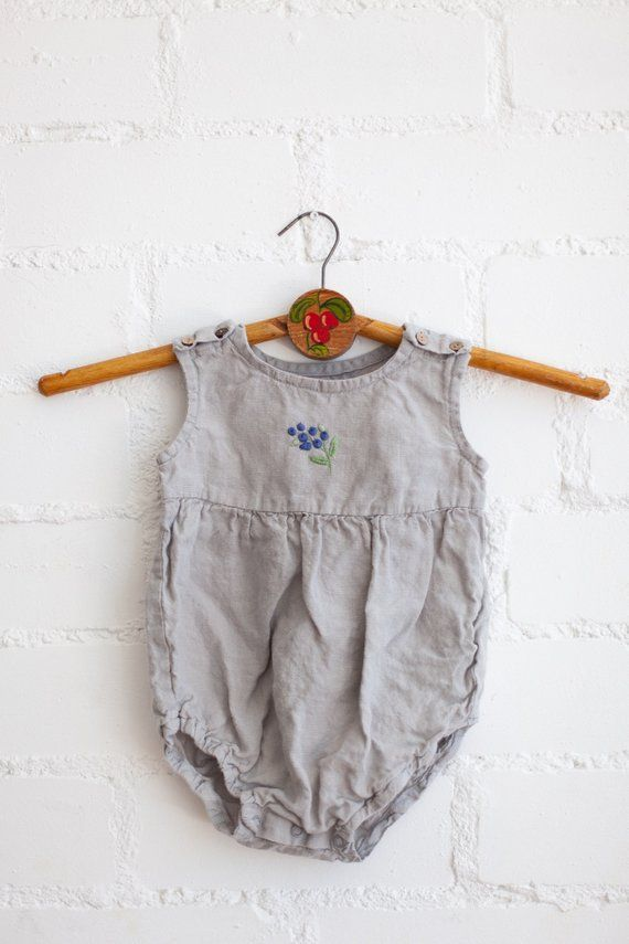 a6972b00d3f2 Linen Romper Light Grey Baby Romper Linen Kids Clothing