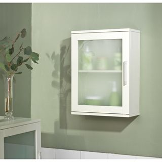 simple living antique white frosted pane wall cabinet