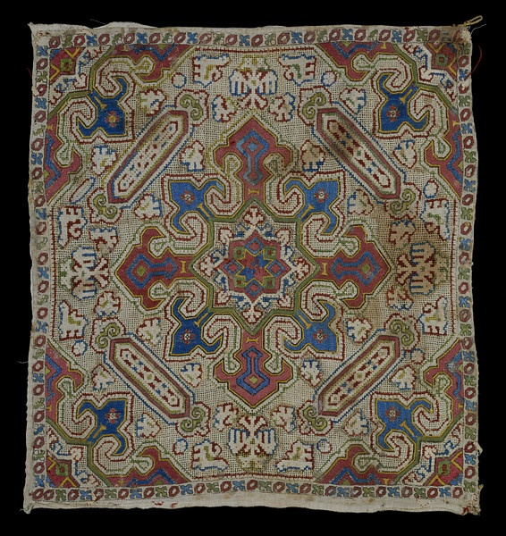 Cushion cover  Place of origin: Ionian Islands, Greece  Date:1700-1800  Materials and Techniques: Silk and metal thread on linen; split, stem, drawn thread work and whipped stitch.  Museum number:T.199-1950