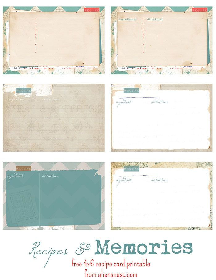 free printable vintage recipe cards printable DIY Pinterest - recipe card