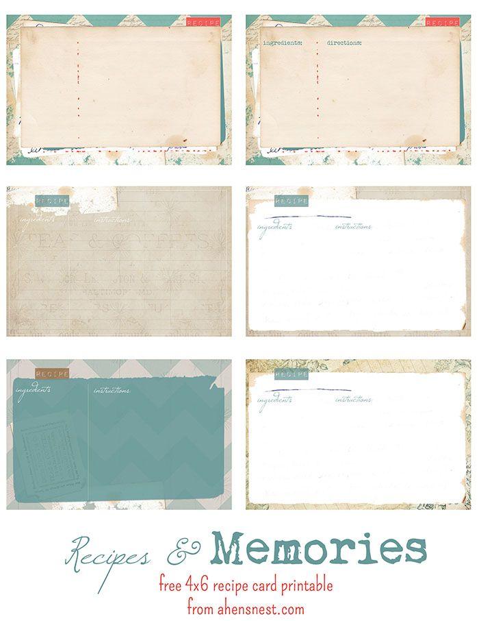 Free Printable Vintage Recipe Cards Printable