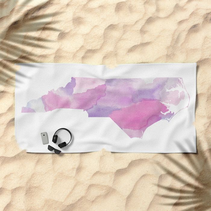 Watercolor State Map - North Carolina NC purples Beach Towel by Rocky.rivers