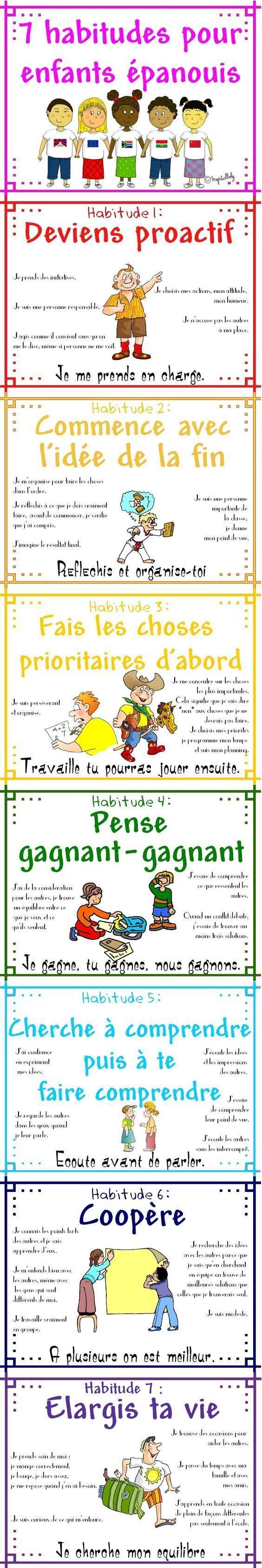 Educational infographic : 7 habitudes pour enfants Ãpanouis. Ca marche aussi pour les adultes !!!:
