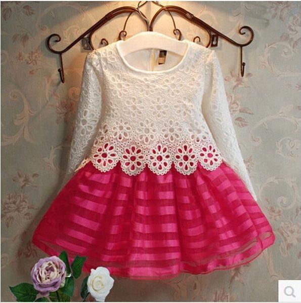 2015 nuevo invierno de la muchacha vestidos manga larga princesa flores niñas vestido de banquete de boda de rayas para niños ropa para niños
