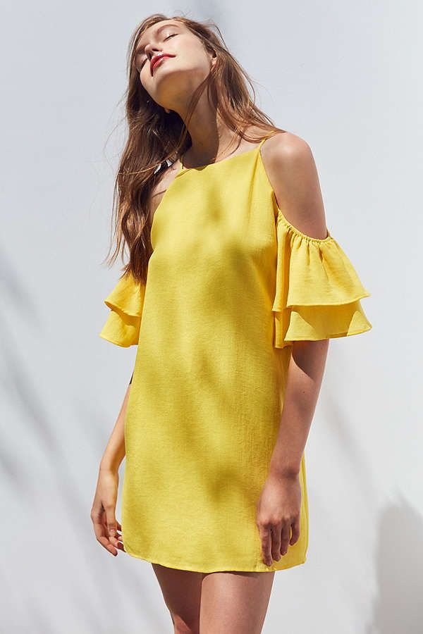 Slide View: 1: Cooperative Ruffle Cold-Shoulder Linen Dress yellow UO