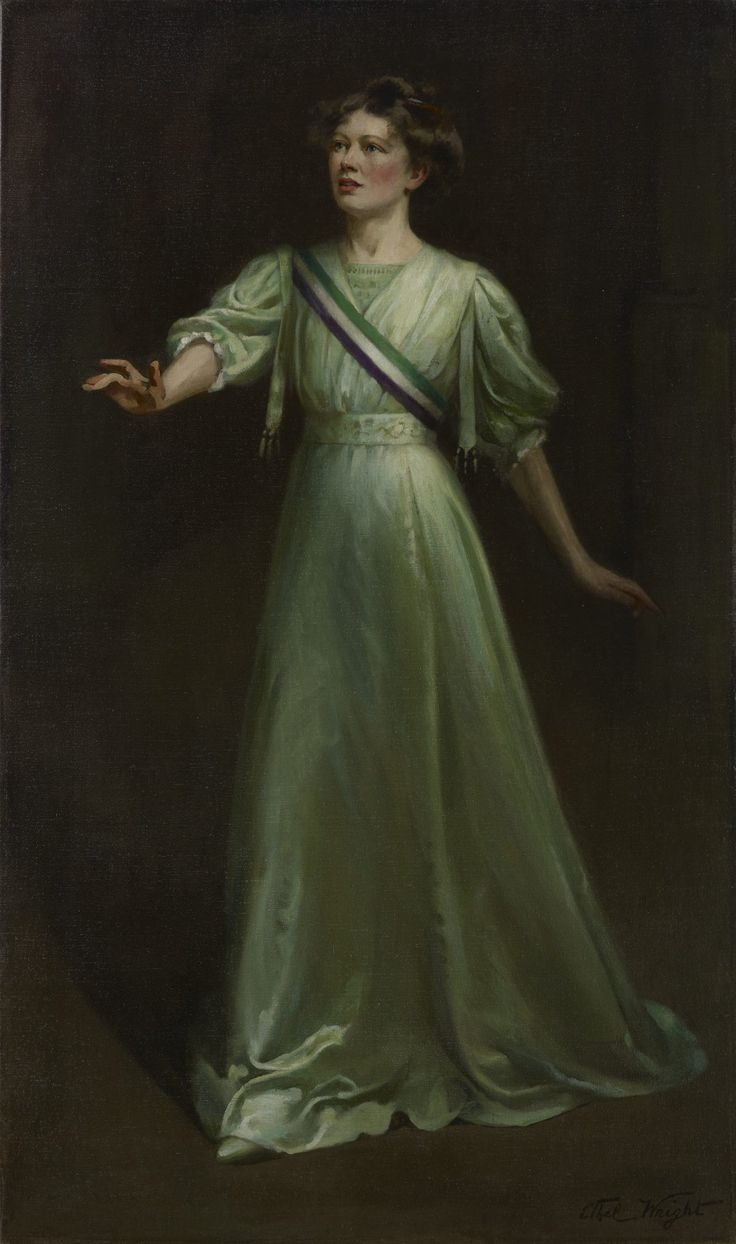 Portrait of suffragette Christabel Pankhurst by Ethel Wright, first displayed at the Women's Exhibition London, 1909 #womensart