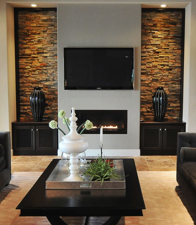 best fireplace tv wall ideas on pinterest - Rock Wall Design