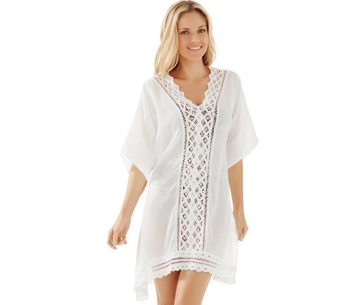 Graceful White Lace Trim V-Neck Batwing Sleeve Beach Cover Up One Size