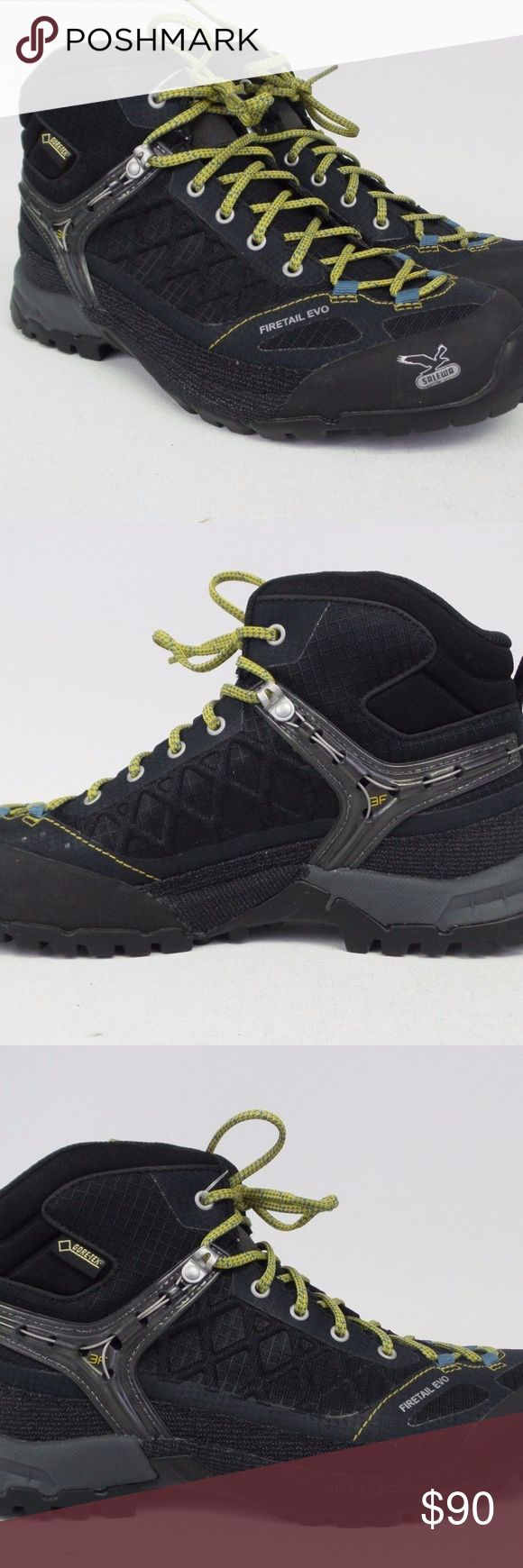 New Women's Salewa Firetail EVO Mid GTX Boots The Women's Firetail EVO Mid GTX Hiking Boot is one of Salewa's masterpieces, made for getting you to the alpine and back. Gore-Tex Extended Comfort provides waterproof breathability in summer rainstorms, spring showers, and fall's first snowdrop.   Color: Black/Gneiss  IL: JJ  Item: 171 Salewa Shoes Athletic Shoes