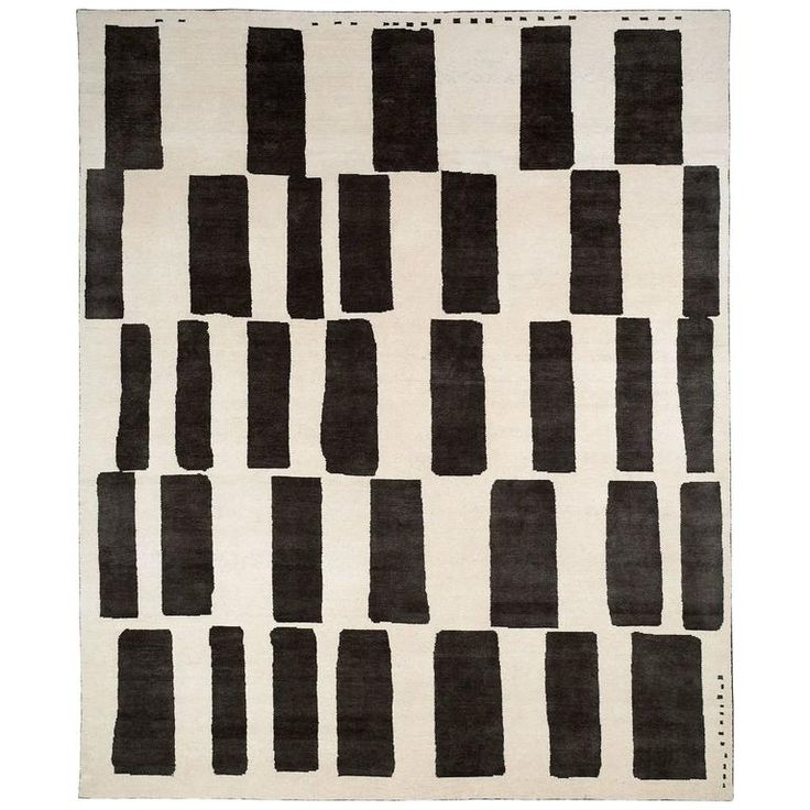 Graphic Black and White Wool Area Rug | From a unique collection of antique and modern central asian rugs at https://www.1stdibs.com/furniture/rugs-carpets/central-asian-rugs/