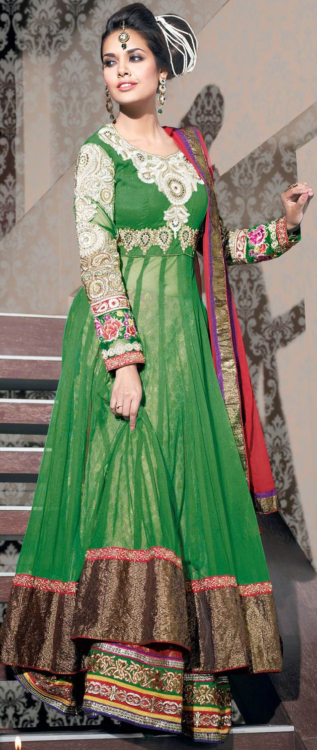 Dresses sarees suits lengha anarkali lehenga pink anarkali lehenga - Green Net And Viscose Jacquard Flared Lehenga Choli With Dupatta Online Shopping