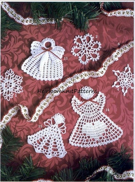 Crochet Pattern PDF for 15 Christmas Tree Trims/ Ornaments/ Decorations. Pattern includes: 5 Snowflakes, 3 Garland Edgings, 7 Angels. All designs can be used to decorate your Christmas Tree or packages or you can slip the flat ornaments inside your Christmas cards. Quick to make, theyll make wonderful last minute gifts. Patterns are written in Standard US Crochet Terms; UK term equivalents also given (on page 1). YOU WILL NEED Crochet Thread Size 10, 1.80mm crochet hook, ribbon, plastic…