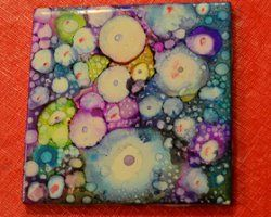 Alcohol Inks on Ceramic Tile - Tutorial
