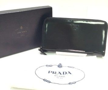 Authentic Black Patent Leather Zip Around Wallet with Box and Dust ...