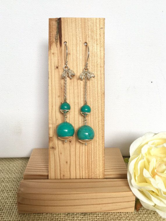 Turquoise earrings  long earrings  silver by GreenGeckoJewellery