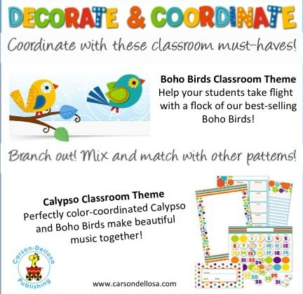 This school year we created more ways for you to mix and match to make your classroom one of a kind! Try new Boho Birds with Calypso. #bohobirds #carsondellosa