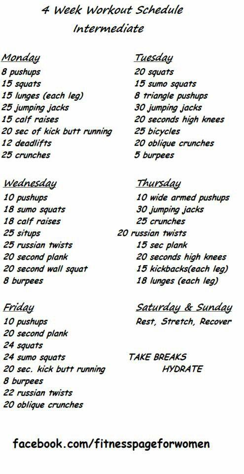 4 week challenge - intermediate | Health & Fitness Info ...