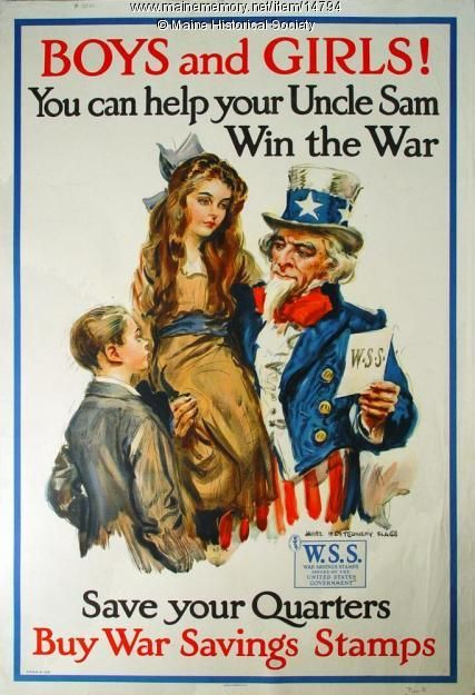 Children and war stamps World War I poster, 1917. Item # 14794 on Maine Memory…