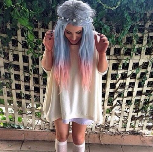 Dip Dyed Blue and Pink Hair with Flower Crown - http://ninjacosmico.com/32-pastel-hairstyles-ideas/