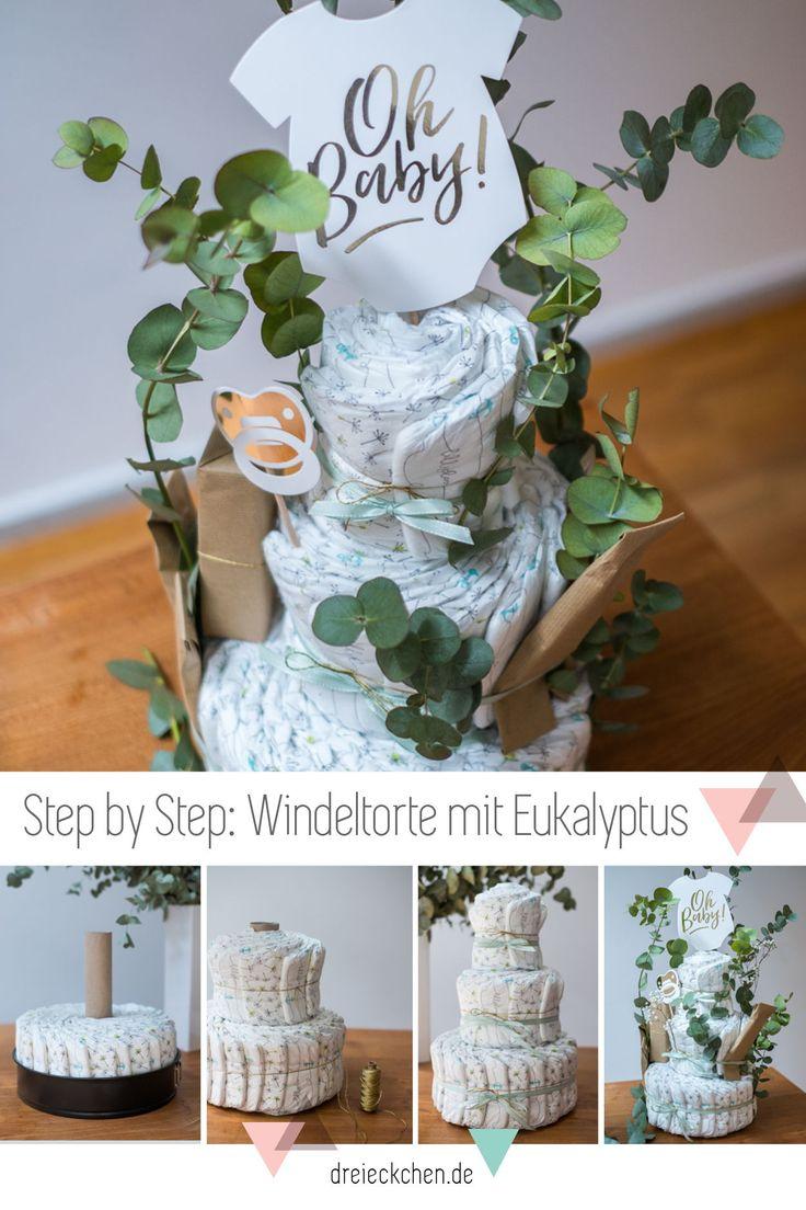 Schöne Windeltorte mit Eukalyptus selbst gemacht. Die perfekte Idee für eine B…