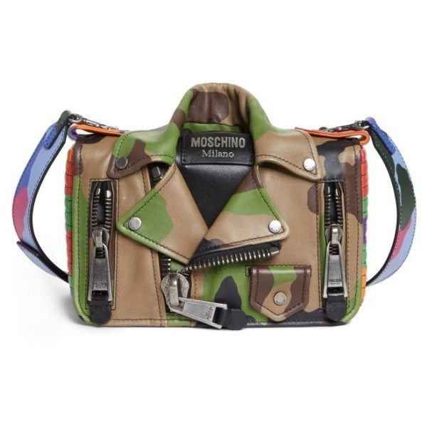Women's Moschino Small Biker Jacket Multi Camo Shoulder Bag (€1.535) ❤ liked on Polyvore featuring bags, handbags, shoulder bags, camo multi, moschino handbags, camo purses, moschino crossbody, moschino shoulder bag and camouflage purse