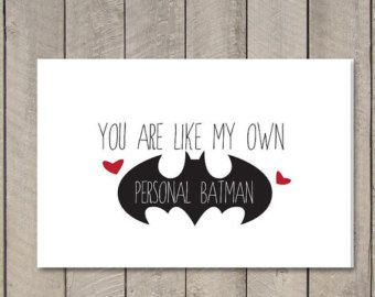 Printable Valentine's Day Batman Card // I love you // Print and fold card for men