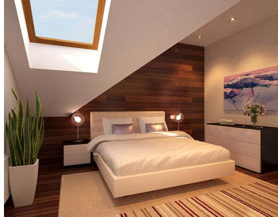modern interior for slanted ceiling rooms