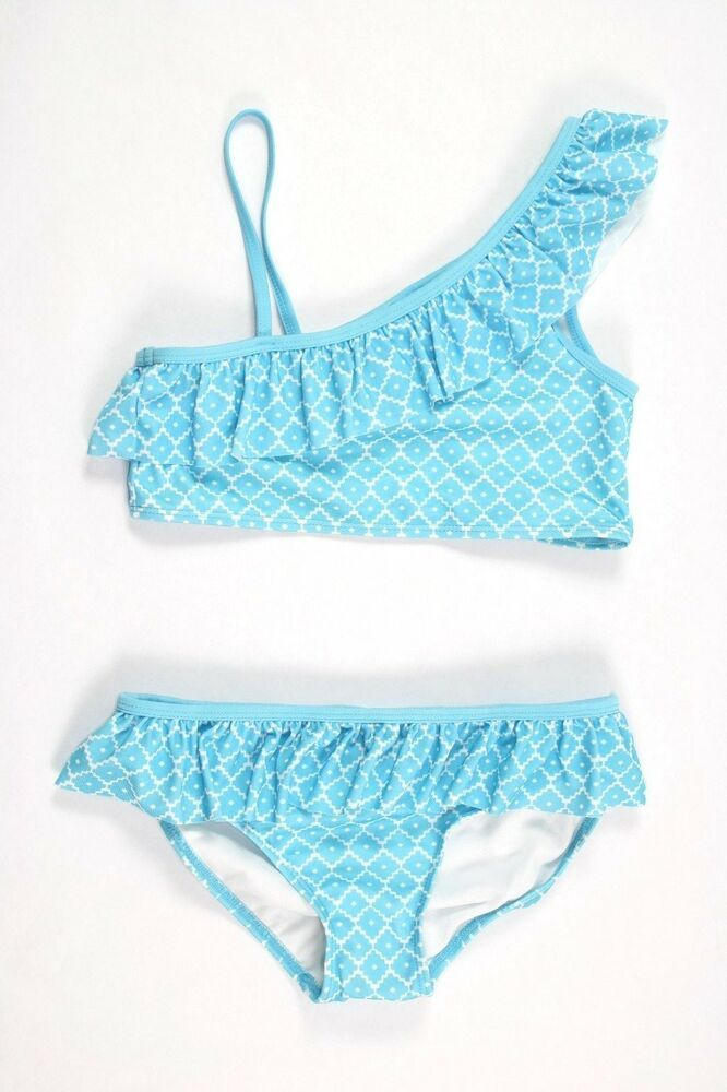 Justice Girl/'s Size 6 MERMAID Geometric Print Ruffle One Piece Swim Suit New