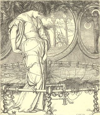"Holman Hunt's illustration of ""The Lady of Shalott"""