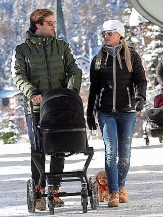 Swiss TV presenter and showgirl Michelle Hunziker with boyfriend fashion house owner Tomaso Trussardi in Sankt Moritz
