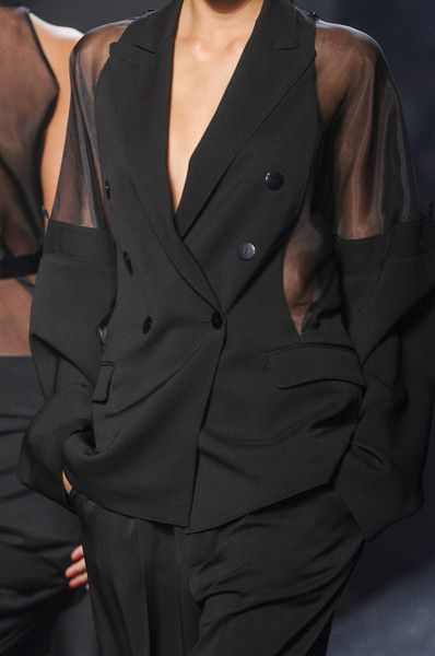 Add sheer panels to your black tux / blazer DIY