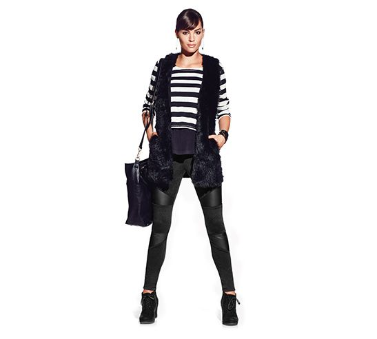 Mossimo Striped Long Sleeve Top, $24.99, Mossimo Faux Fur Vest, $34.99, Mossimo Ponte Pant with Faux Leather, $24.99, Mossimo Estella Wedge, $29.99.