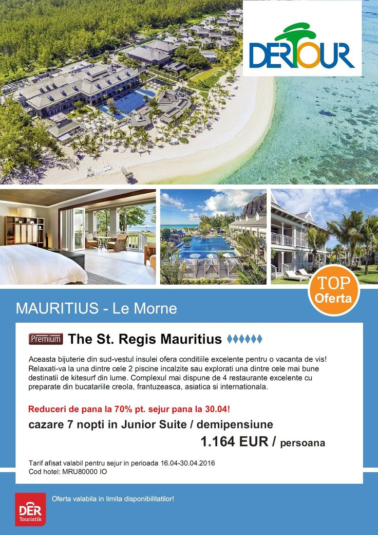 Reducere de pana la 70% pentru sejur pana la 30.04! Sejur 7 nopti - The St. Regis Mauritius http://bit.ly/1Uaki89